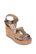 Jimmy Choo - Aleili Natural Snakeskin Embossed Wedge, 100mm