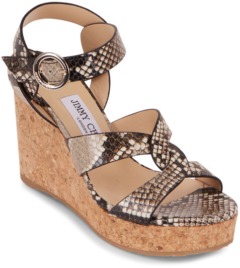 Jimmy Choo Aleili Natural Snakeskin Embossed Wedge, 100mm
