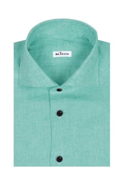 Kiton - Light Green Linen Sport Shirt