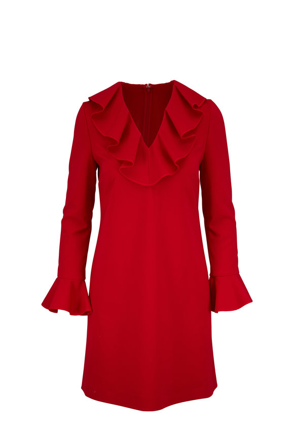 Valentino Red Crêpe Ruffle V-Neck Long Sleeve Dress