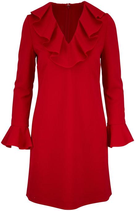 Valentino Red Crêpe Ruffle V-Neck Long Sleeve Dress