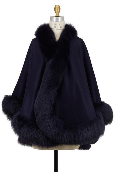 Viktoria Stass - Navy Blue Cashmere & Fox Fur Cape