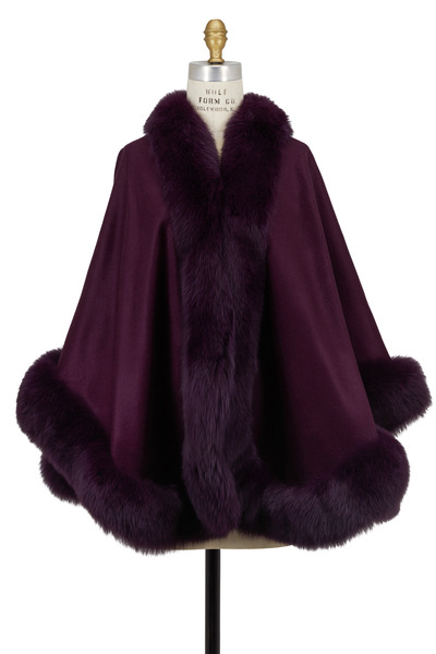 Viktoria Stass - Plum Cashmere & Fox Fur Cape