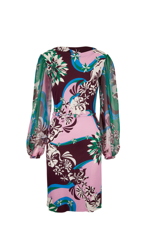 Pucci Green, Pink & Burgundy Chiffon Sleeve Dress