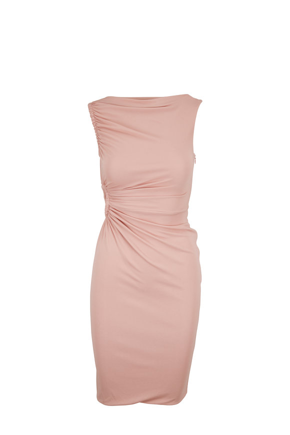 Tom Ford Pearl Pink Crepe Jersey Sleeveless Keyhole Dress