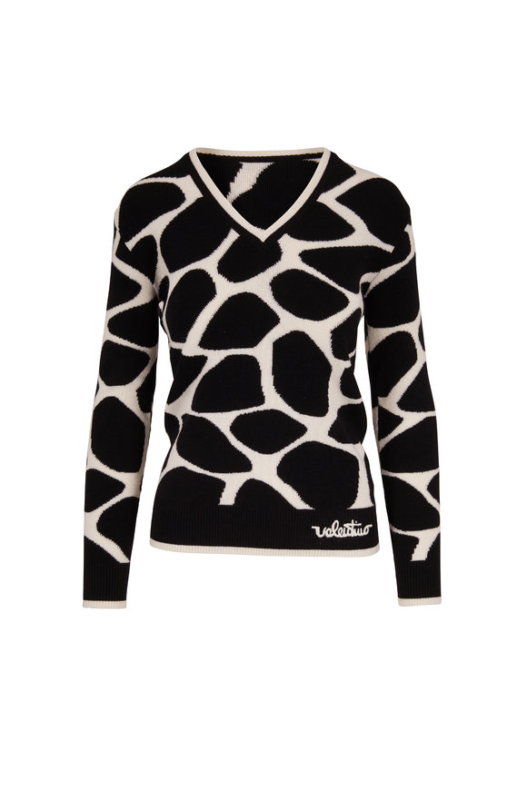 Valentino Black & Ivory Wool Giraffe Print Sweater