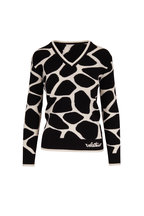 Valentino - Black & Ivory Wool Giraffe Print Sweater