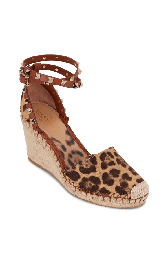 Valentino Garavani Rockstud Leopard Print Canvas Wedge, 85mm