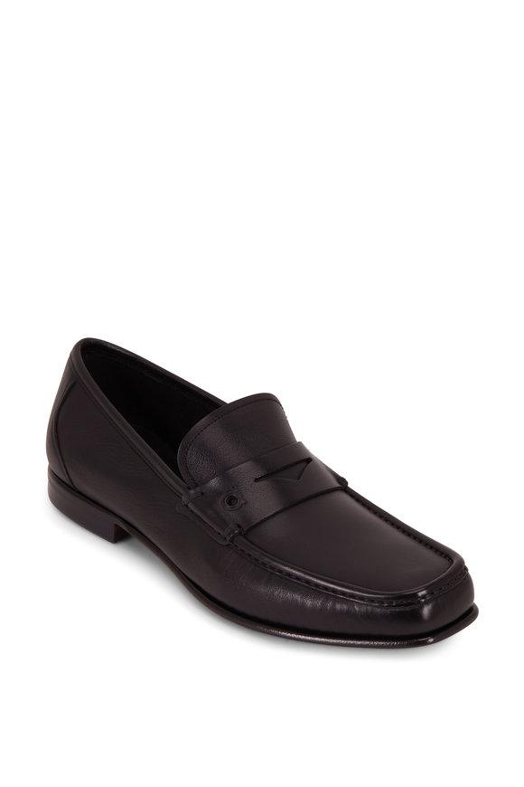 Salvatore Ferragamo Sam Black Leather Penny Loafer