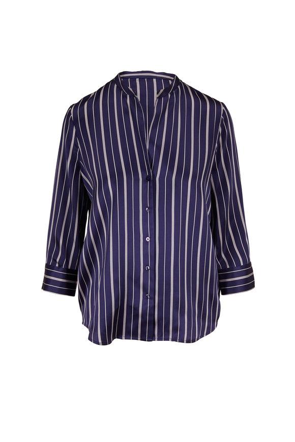 L'Agence Aoki Navy & White Stripe Silk Blouse