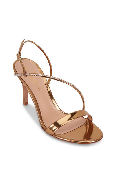 Gianvito Rossi - Show Gold Leather Crystal Strap Sandal, 85mm