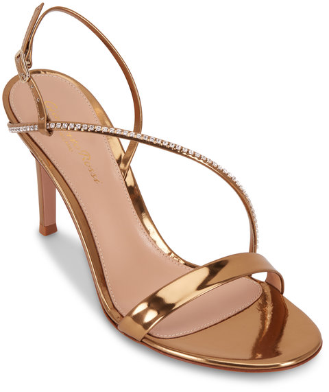 Gianvito Rossi Show Gold Leather Crystal Strap Sandal, 85mm
