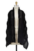 Viktoria Stass - Black Open Knit & Fur Shawl