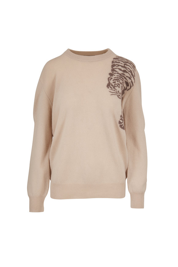 Jumper 1234 Bone Cashmere Creeping Tiger Crewneck Sweater
