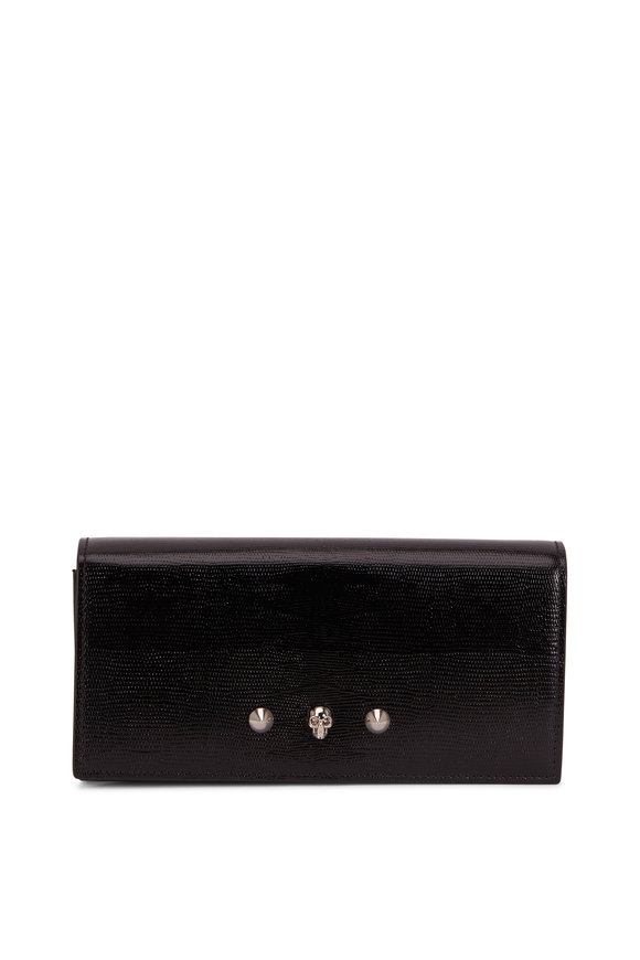Alexander McQueen Black Lizard Embossed Leather Chain Wallet
