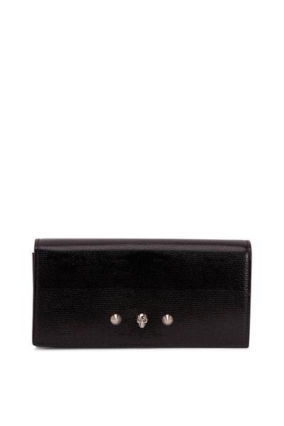 Alexander McQueen - Black Lizard Embossed Leather Chain Wallet