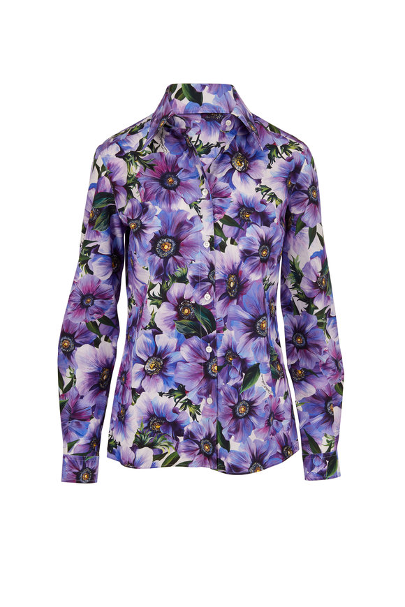 Dolce & Gabbana Purple Anemone Floral Print Button Down Blouse