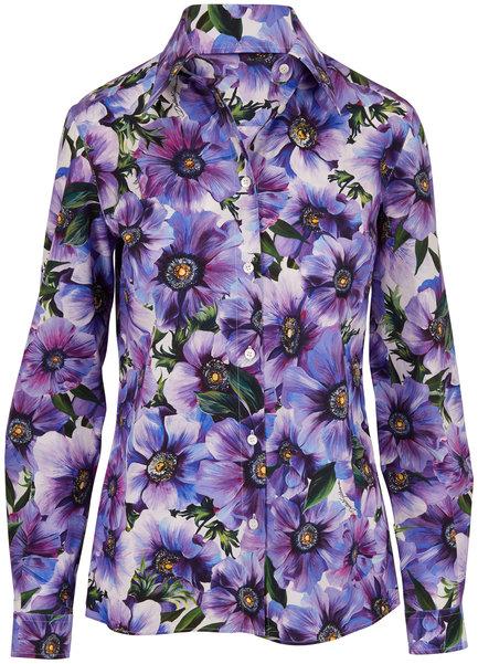 Dolce & Gabbana Purple Anemone Floral Print Button Down Blouse