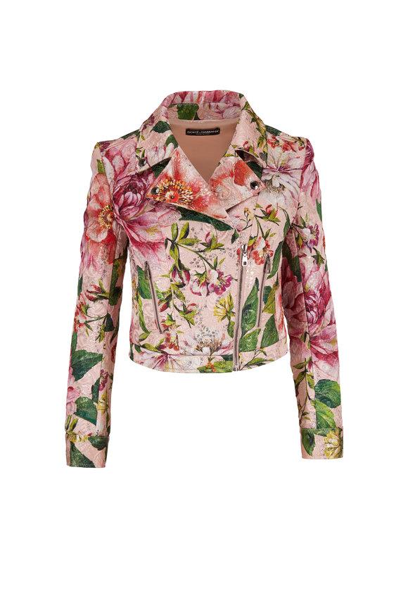 Dolce & Gabbana Pink Brocade Floral Print Cropped Moto Jacket