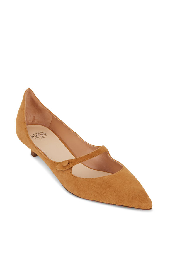 Francesco Russo  Light Tan Suede Kitten Heel Mary Jane, 25mm