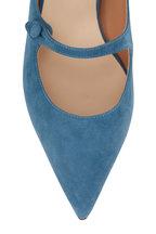 Francesco Russo - Denim Blue Suede Kitten Heel Mary Jane, 25mm