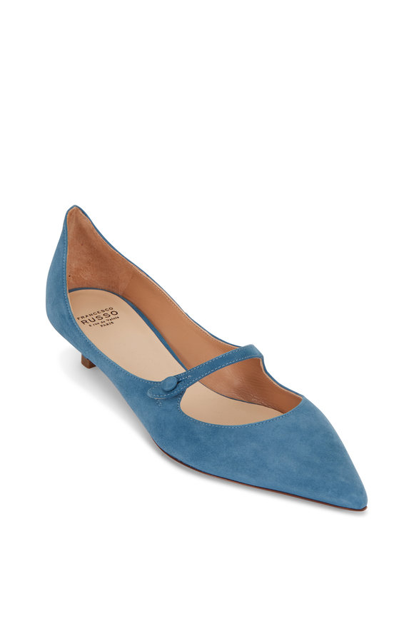 Francesco Russo  Denim Blue Suede Kitten Heel Mary Jane, 25mm