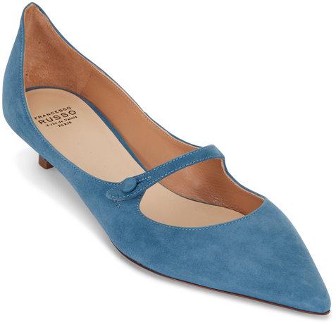 Francesco Russo  Denim Blue Suede Kitten Heel Mary Jane, 25mm