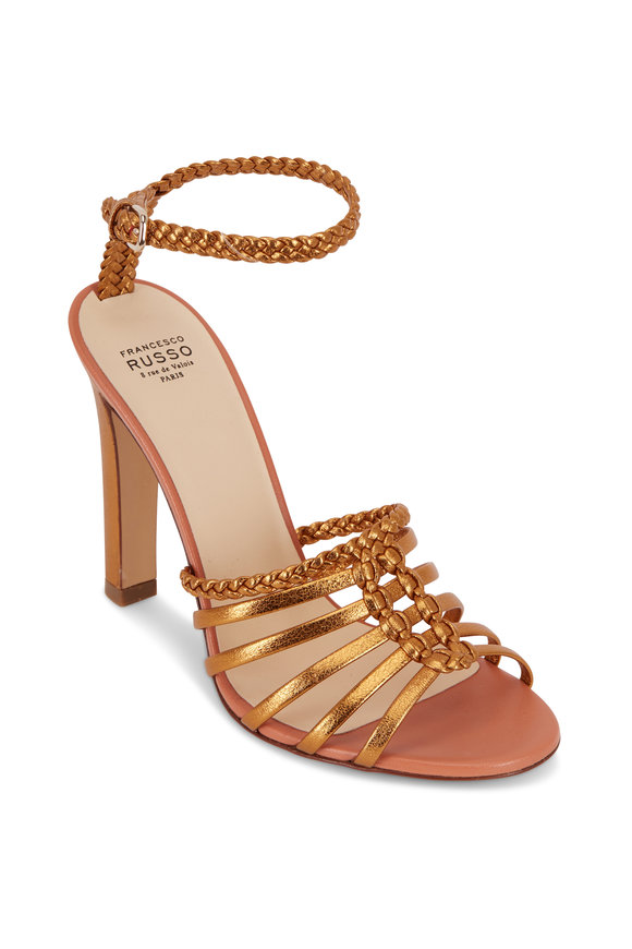 Francesco Russo  Old Gold Laminated Leather Strappy Sandal, 105mm