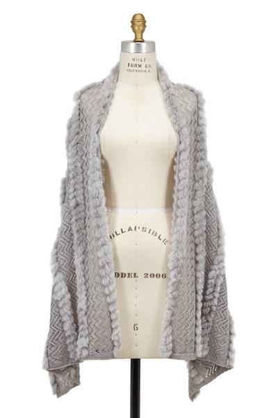 Viktoria Stass - Gray Open Knit & Fur Shawl