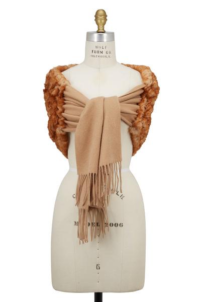 Viktoria Stass - Camel Wool & Fur Shoulder Wrap