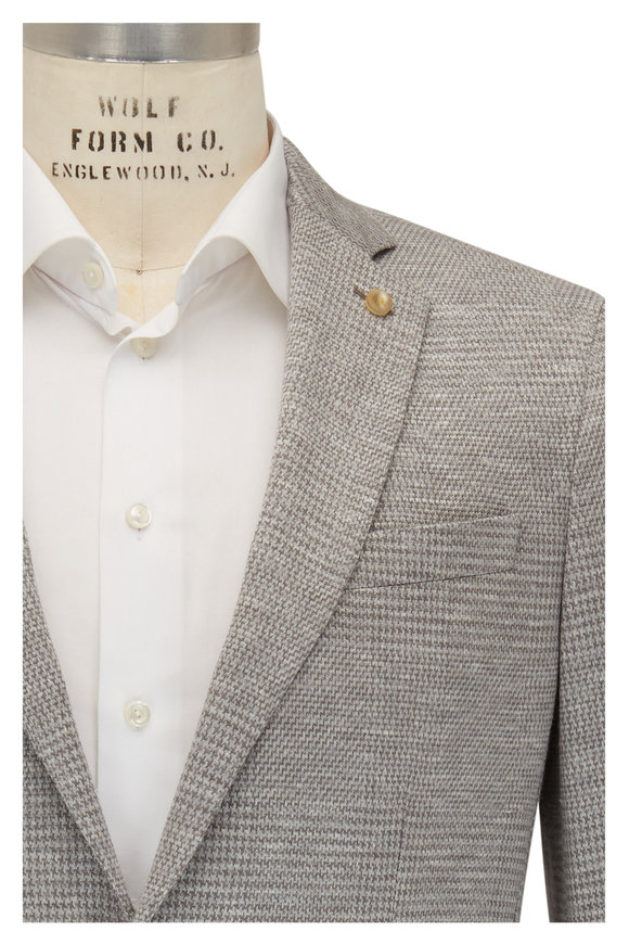 Peter Millar Light Gray Houndstooth Wool Blend Sportcoat