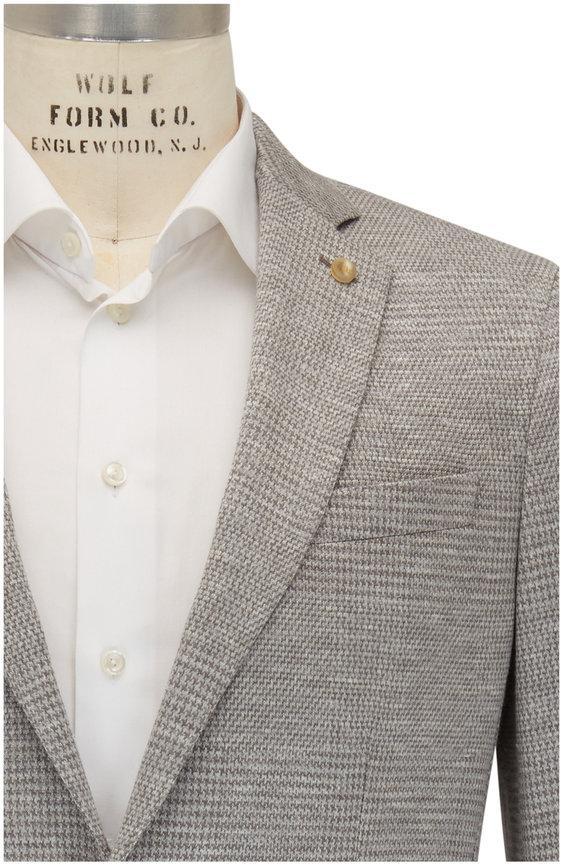 Peter Millar Light Gray Houndstooth Wool Blend Sportcoat