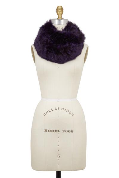 Viktoria Stass - Purple Knitted Fur Infinity Scarf