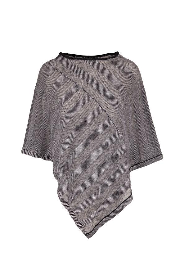Kinross Black & White Stripe Linen Poncho