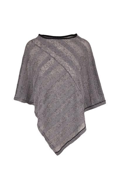 Kinross - Black & White Stripe Linen Poncho