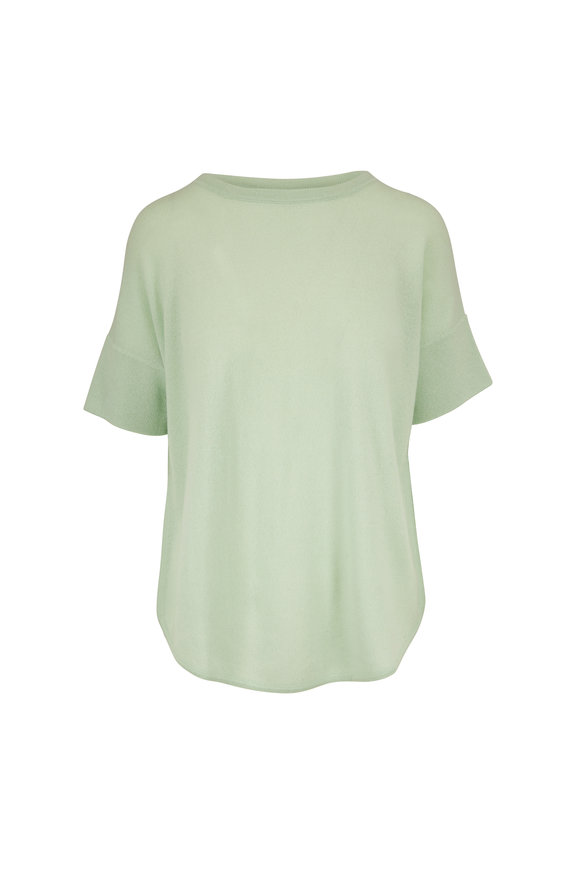Kinross Agave Cashmere Dropped Short Sleeve Sweater