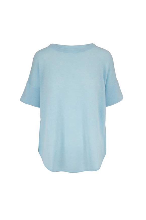 Kinross Oasis Cashmere Dropped Short Sleeve Sweater