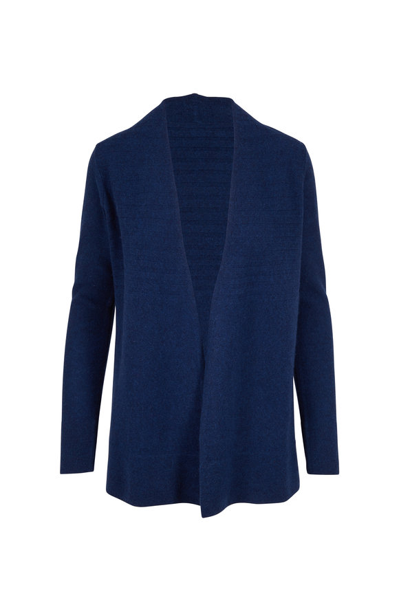 Kinross Eclipse Cashmere Easy Ribbed Open Front Cardigan