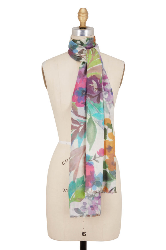 Kinross Multicolor Fresh Cut Floral Print Scarf