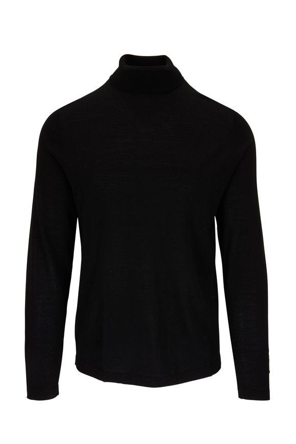 PYA Patrick Assaraf Black Extrafine Merino Wool Turtleneck