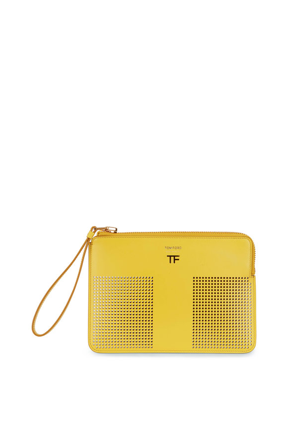 Tom Ford Citron Perforated Leather Small Zip Pouch