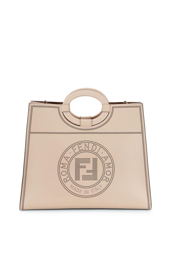 Fendi Runaway Beige Leather Perforated Logo Shopper