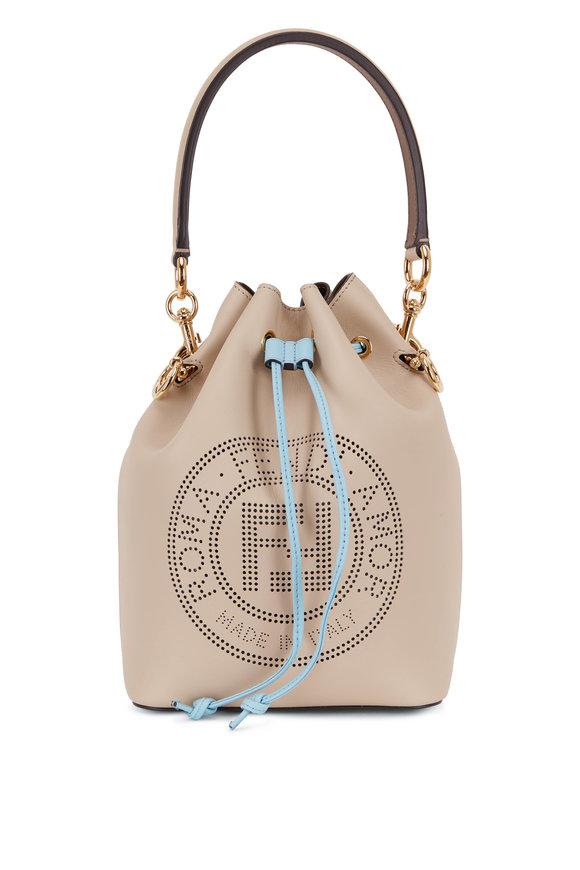 Fendi Mon Tresor Cream & Baby Blue Leather Bucket Bag
