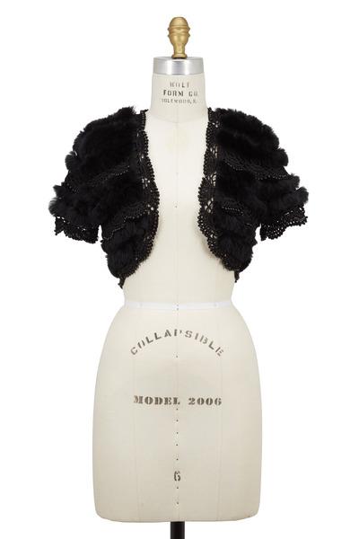 Viktoria Stass - Black Knit, Pearls & Fur Bolero