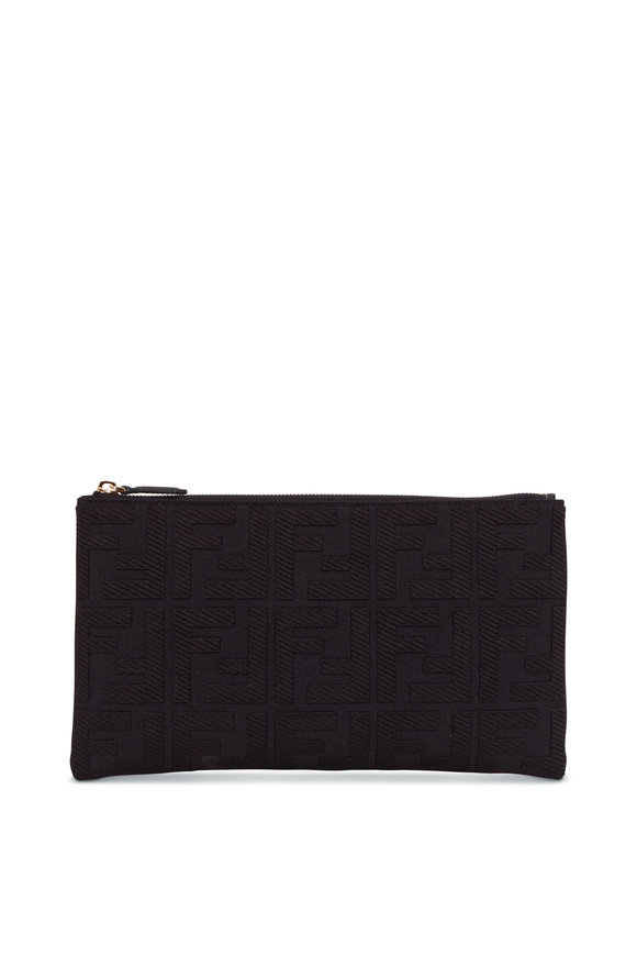 Fendi Black Canvas Jacquard Logo Medium Pouch