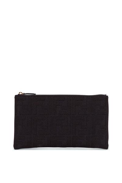 Fendi - Black Canvas Jacquard Logo Medium Pouch