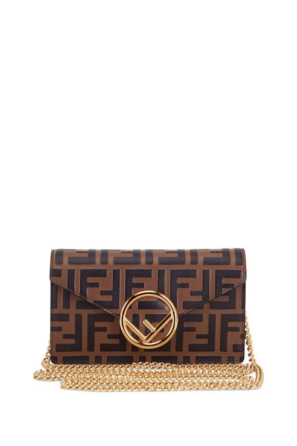 Fendi Logo Mania Brown Belt Or Crossbody Convertible Bag