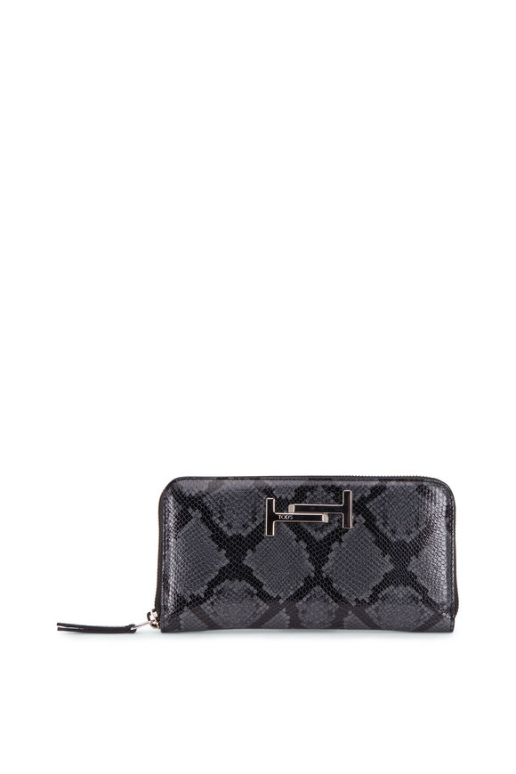 Tod's Double T Dark Gray Python Print Leather Zip Wallet