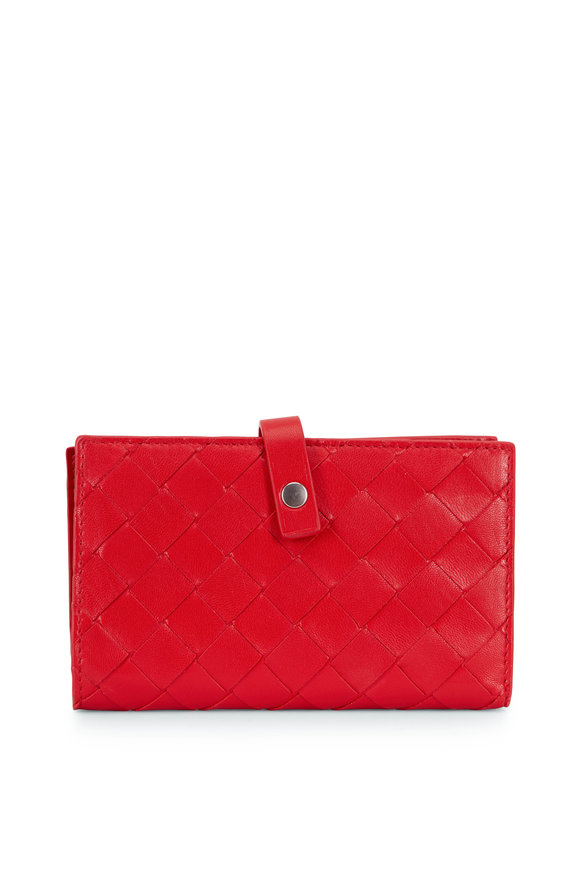 Bottega Veneta Bright Red Intreciatto Fold-Over Small Wallet