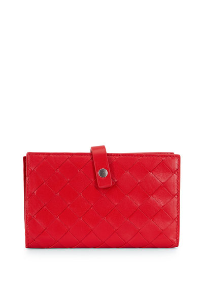 Bottega Veneta - Bright Red Intreciatto Fold-Over Small Wallet